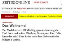 Artikel der ZEIT zur T-Shirt-Produktion